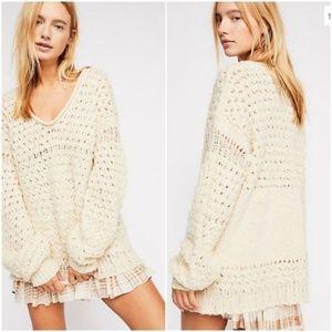 Free People Oversized Ivory Crocheted Sweater NWOT